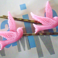 Pair of Candy Pink Flying Swallows  on Antique Bronze Bobby Pins Dove  Bird hairclips rockabilly hair accessories