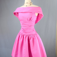 Vintage 1990's Pink Off Shoulder Barbie Puff Dress
