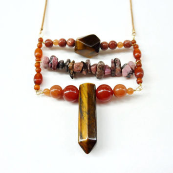Metaphysical Stone Statement Necklace. Mixed Crystal Jewelry
