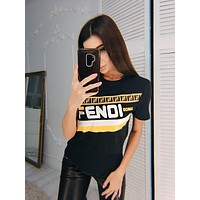 FENDI Summer Fashionable Women Casual Short Sleeve Slim T-Shirt Top Blouse Black