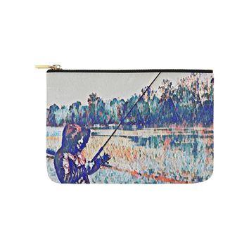 Levi Thang Fishing Design 1 Carry-All Pouch 9.5''x6''