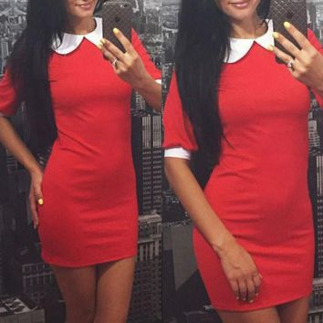 New Women Red Patchwork White Peter Pan Collar Mini Dress