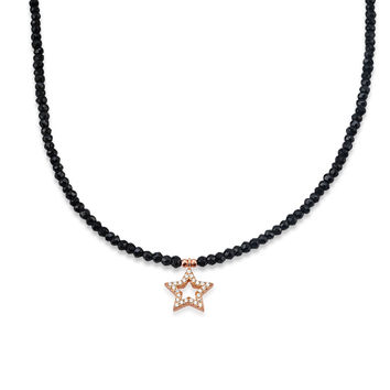 Star Necklace with Black Spinel Strand
