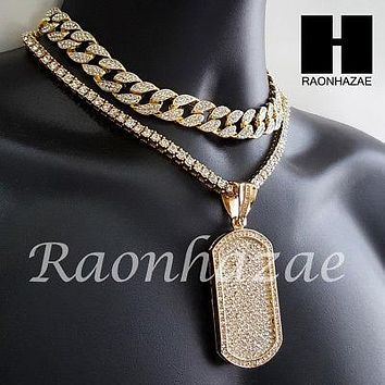 Hip Hop Premium Dog Tag Miami Cuban Choker Tennis Chain Necklace L