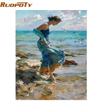 RUOPOTY Frame Girl DIY Painting By Numbers Figure Painting Modern Wall Art Canvas Hand Painted Paint By Number For Home Decor