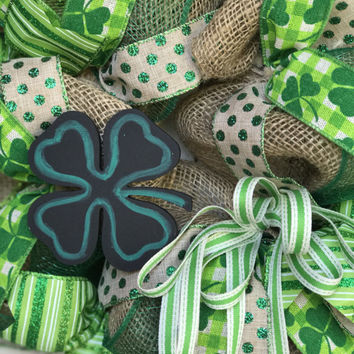 St Patricks Day Wreath Burlap St. Patrick's Day Decor Luck of the Irish Spring Wreath Irish Green Four Leaf Clover Irish Holiday St. Patty's
