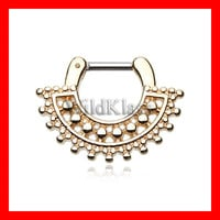 16g Gold Septum Clicker Golden Divine Filigree 14g Septum Ring Earring Cartilage Piercing Tragus Ring Helix Conch Nose Belly Nipple