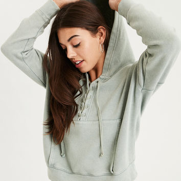 AE Beachy Lace Up Hoodie, Green