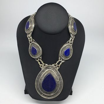 Turkmen Necklace Afghan Ethnic Tribal 5 Cab Lapis Lazuli Inlay Kuchi Necklace TN254