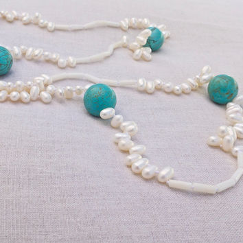 Long necklace pearl turquoise white coral hand knotted Beach wedding Beach bride Long necklace Modern wedding Blue Yellow Boho style