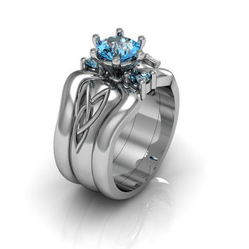 Sterling Silver Blue Topaz Celtic Knot  Love and Friendship Engagement and Promise Solitaire Trio Ring Set
