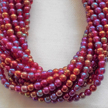 Lot of 100 4mm Luster Iris Ruby Czech glass druk beads, translucent red luster smooth round druks, C5601