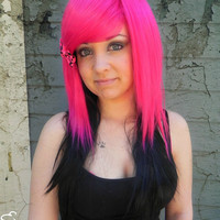 HAPPY HOLIDAYS SALE / Lush / Hot Pink and Black / Long Straight Layered Wig