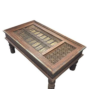 Antique Coffeetable, Brass Cladded Chai table Vintage Furniture Haveli Old Jharokha Floral Carved Living Room Decor