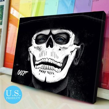 Canvas Print 007 Spectre James Bond Skull Mask Poster Wall Decor - piegabags.com