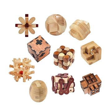 Old Ancestral Locks Traditional Wooden Brain Teaser Puzzle Educational Toys Magic Cube