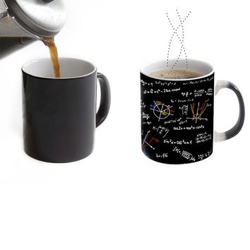 math teacher mugs morph cup gifts magical heat sensitive Black colour change morphing coffee Tea Cups ceramic mug