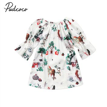 Newborn Baby Girls Dress Deer Christmas Dresses Princess Girl Clothing White Round Neck Xmas Three Quarter Sleeve Party Clothes