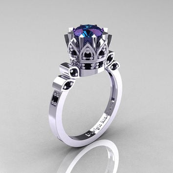Classic Armenian 14K White Gold 1.0 Alexandrite Black Diamond Bridal Solitaire Ring R405-14KWGBDAL