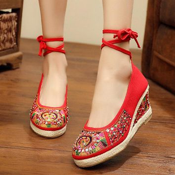 Beaded Strappy Wedges Vintage Shoes