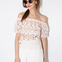 Pink Floral Lace Off The Shoulder Top
