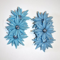 Vintage Earrings Funky Blue Plastic Flower 1950 Jewelry Mod