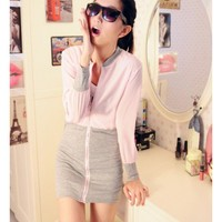 Pink Long Sleeve Autumn Zipper Women Cotton Dress One Size @WH0338p $9.99 only in eFexcity.com.