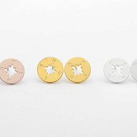 Compass Stud Earrings in Gold, Silver or Rose Gold Plated