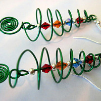 "Handcrafted Spiral ""Yule Tree"" or Christmas Tree Earrings"