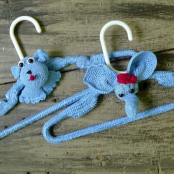 Children's Crochet Covered Clothes Hangars, Dog and Elephant-Set of 2