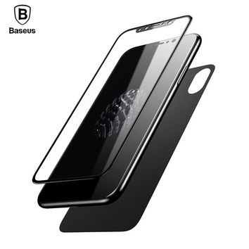 Baseus Front Back Full coverage Screen Protector For iPhone X HD Clear 3D Full Body Cover Tempered Glass For iPhone X 10
