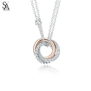 SILVERAGE Real 925 Sterling Silver Necklaces & Pedants Fine Jewelry Women Rose Gold Cubic Zirconia Love Knot Round Circle 11.11