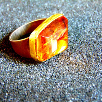 Beautiful silver and gold statement ring-Citrine  statement ring-Gemstone statement ring for women-Artisan jewelry-Greek art