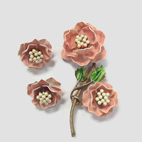 1960s Jewelry / Vintage Signed Marvella Pink Enamel and Faux Pearl Flower Brooch and Clip Earrings, Demi Parure