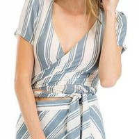Matching Maxi Skirt & Wrap Top- Blue & White Stripes