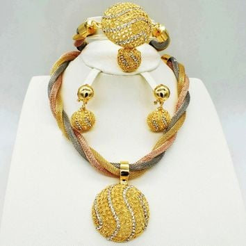 HOT Fashion wedding Dubai Africa Nigeria African Jewelry set gold-color necklace Earrings romantic woman Bridal Jewelry Sets