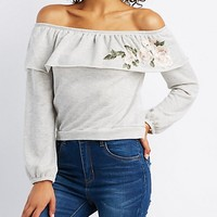 Embroidered Off-The-Shoulder Pullover Sweater | Charlotte Russe