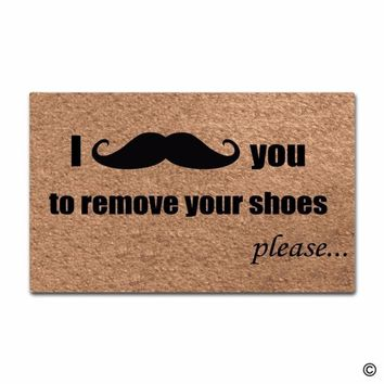 Autumn Fall welcome door mat doormat Entrance Floor Mat Funny  I Mustache You To Remove Your Shoes PleaseFunny Printed  Outdoor In Non-woven AT_76_7