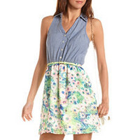 Belted Chambray & Floral Shirt Dress: Charlotte Russe