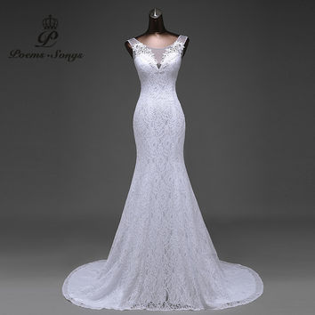 Hot sale free shipping lace flowers very nice Sexy backless mermaid Wedding Dresses vestidos de noiva robe de mariage ball gown