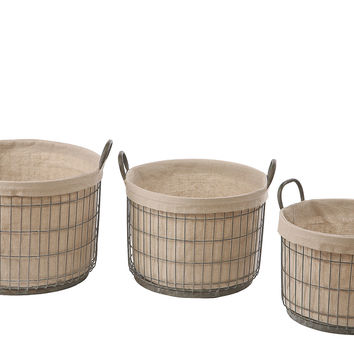 Tin Baskets w/ Fabric Liner, Set of 3, Storage Baskets