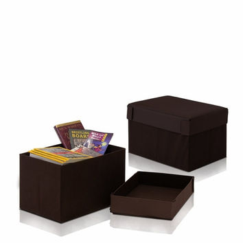 Furinno Rectangular Foldable Storage Stool Ottoman, Set of Two, Espresso