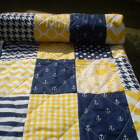 Modern Baby quilt,patchwork crib blanket,baby boy bedding,baby girl quilt,nautical,navy,yellow,chevron,dots,toddler,waves,Sun and Sea
