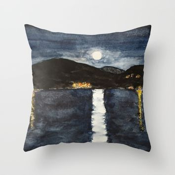 full moon by the sea Throw Pillow by Colorful Nature