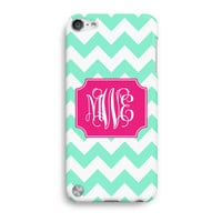 Mint Chevron Pink Vine Custom Monogram  iPod Touch 5 Case, iTouch 4 Case