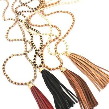 Leather and Lucky Duck Beaded Tassel Necklaces
