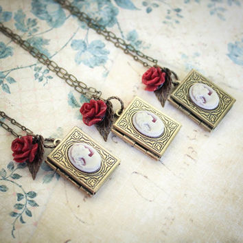 Best vintage book locket products on wanelo book locket necklace locket pendant rose charm wedding accessories bridesmaids jewelry aloadofball Gallery