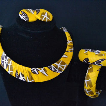 Yellow, Brown, White Ankara Earring