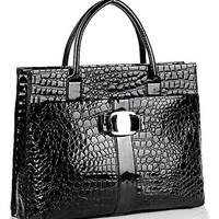 MG Collection Maxx High Gloss Crocodile Shoulder Bag, Black, One Size
