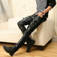 Leather Jean Pants with Buckles